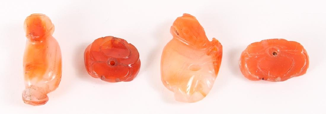 Large Group of Orange Colored Agate Mineral Beads - 4
