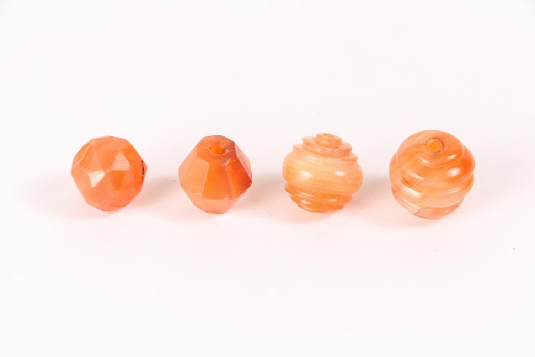 Large Group of Orange Colored Agate Mineral Beads - 6