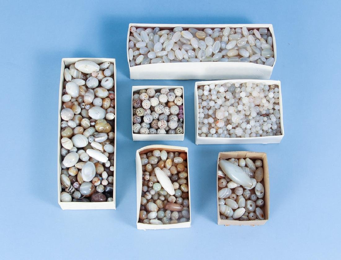 Large Group of Agate and Quartz Beads