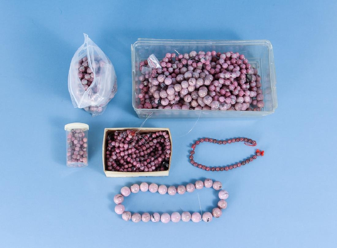 Large Group of Pink Jasper and other Mineral Beads