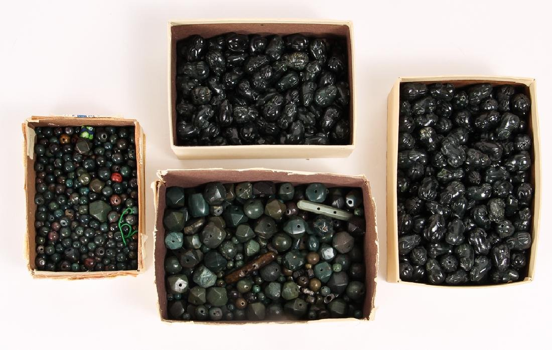 Large Group of Dark Green Jasper Mineral Beads