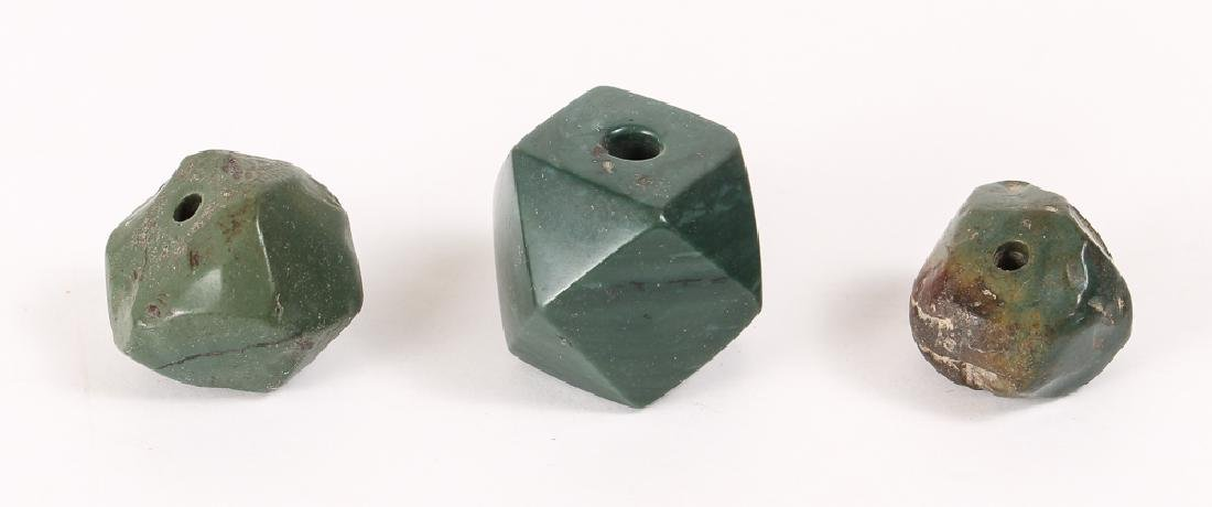 Large Group of Dark Green Jasper Mineral Beads - 4