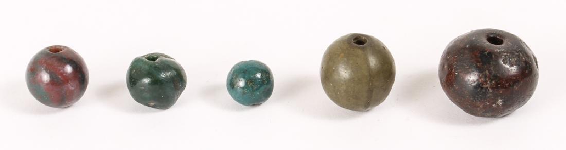 Large Group of Dark Green Jasper Mineral Beads - 6