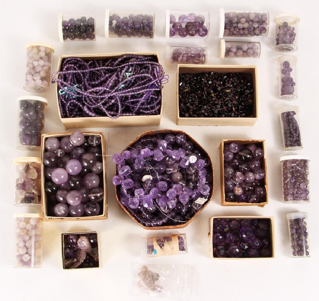 Large Group of Amethyst and Related Beads