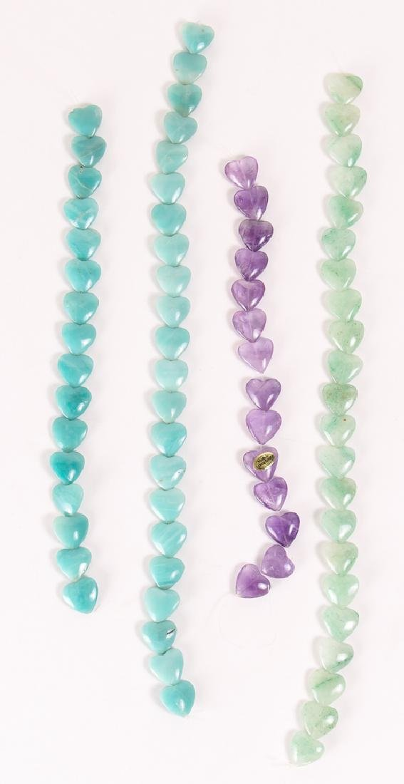 Group of Heart Shaped Mineral Beads - 3