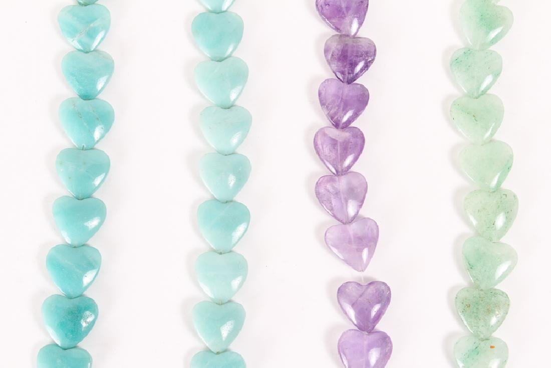 Group of Heart Shaped Mineral Beads - 4