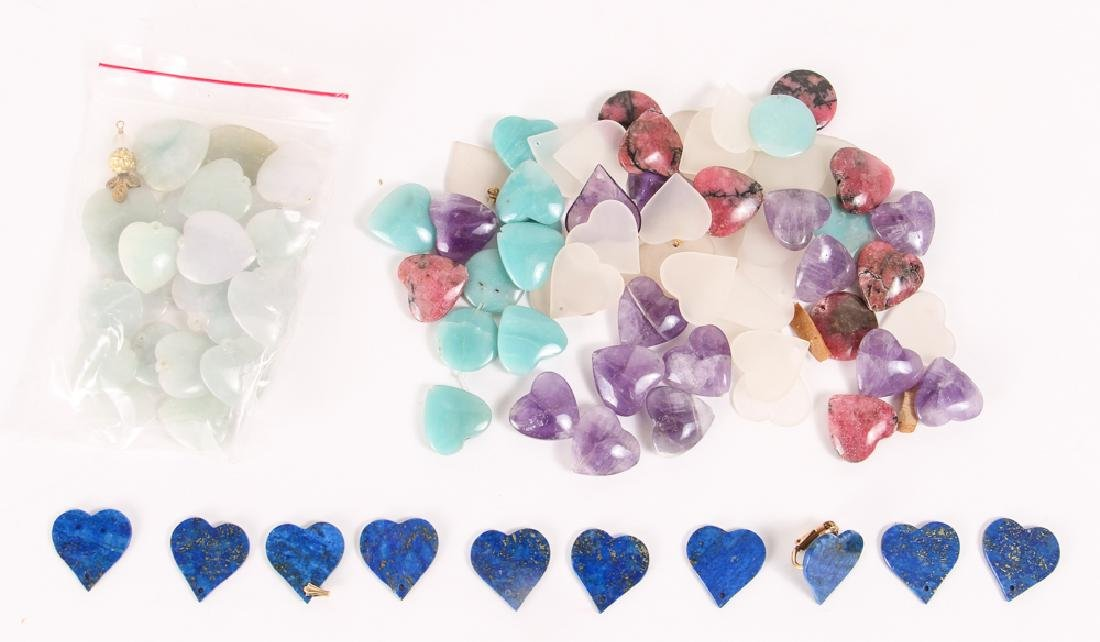 Group of Heart Shaped Mineral Beads - 9