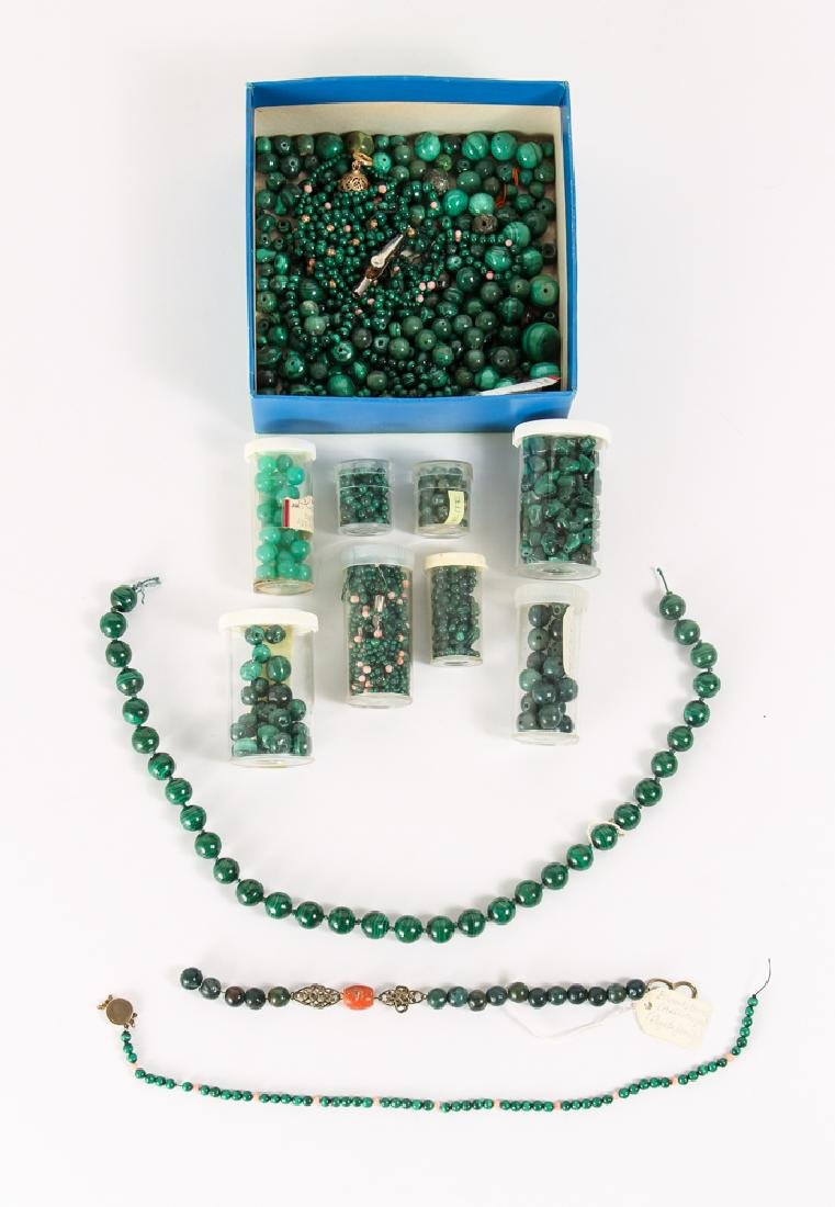 Group of Malachite and Related Beads
