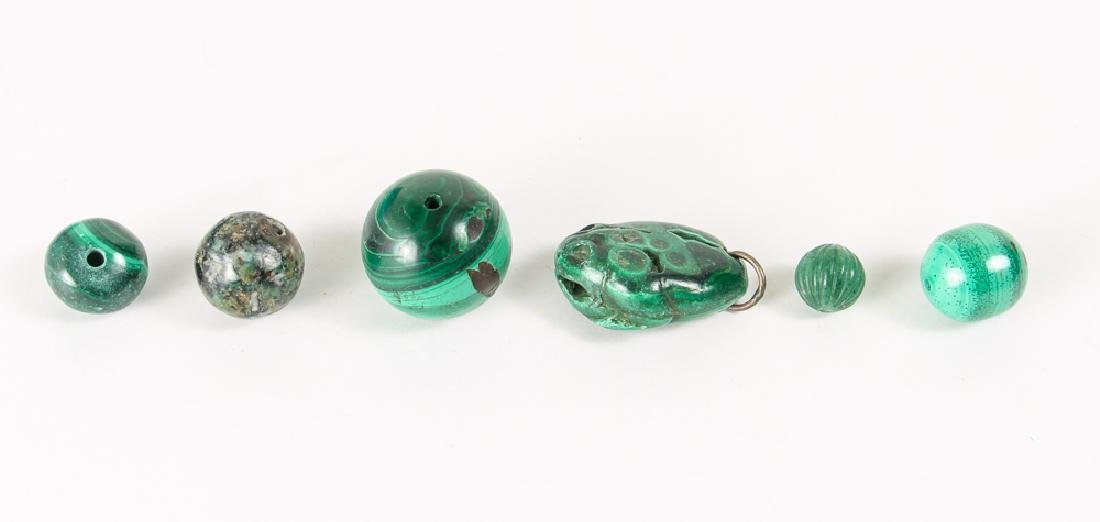 Group of Malachite and Related Beads - 8