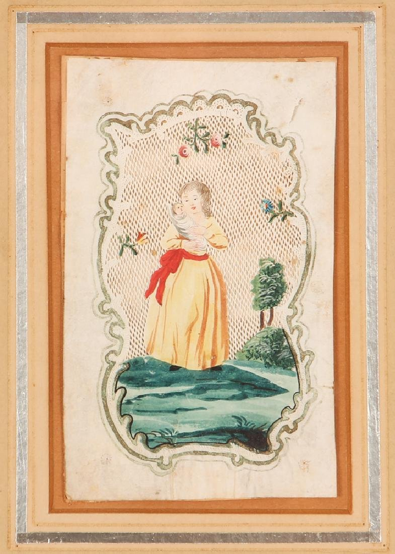 Three Antique Hand Painted and Cut Valentines
