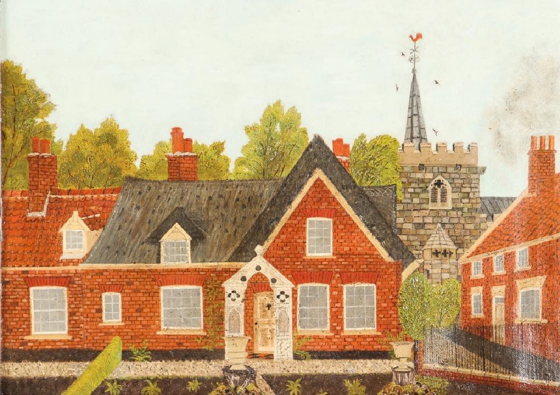 Victorian Folk Town Scene Painting