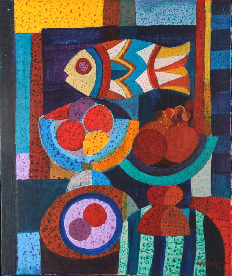 Simon Avissar colorful cubist Still Life with Fish