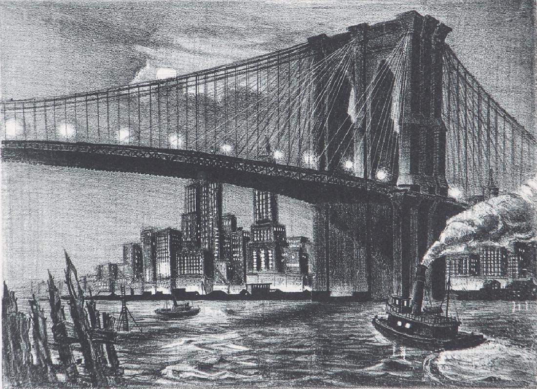 Richard Bergere Brooklyn Bridge Lithograph