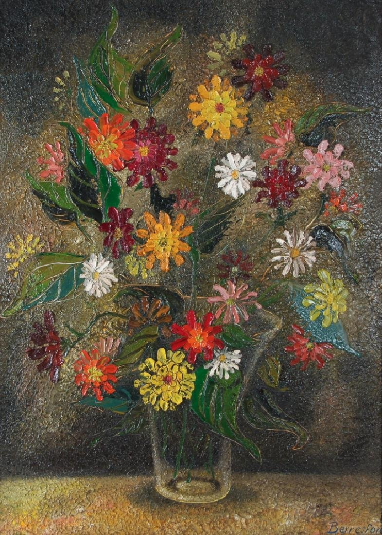 Virginia Berresford modernist oil Still Life of Flowers