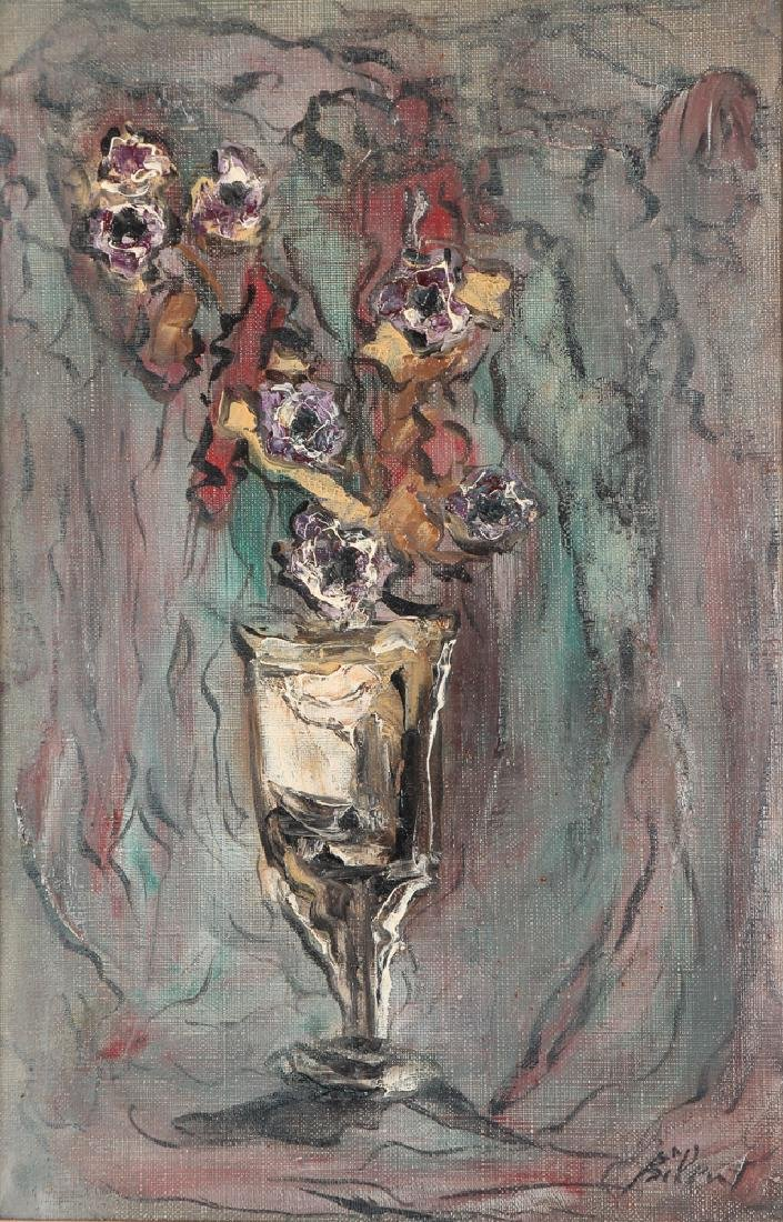 """Simon Bilew """"Floral Still Life"""" oil painting 1951"""