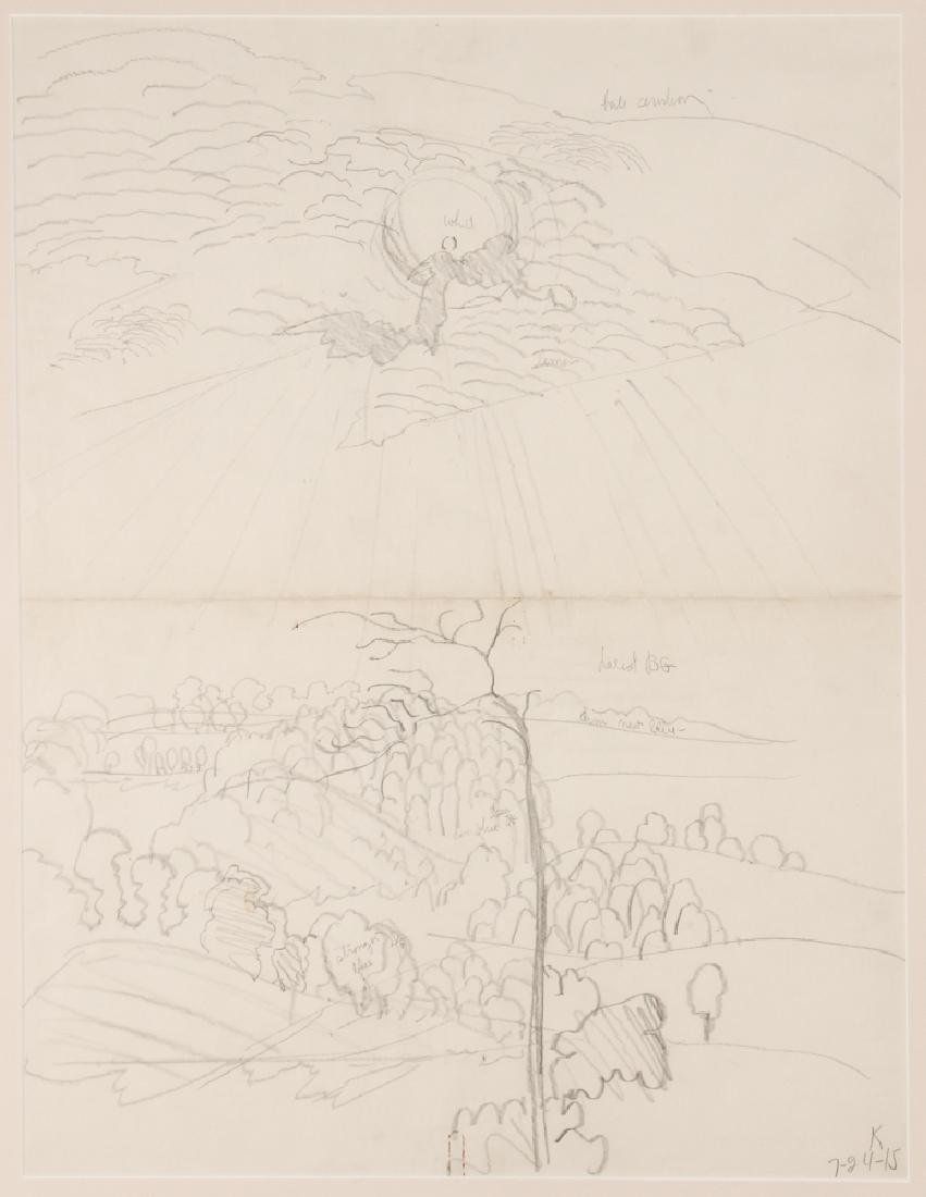 Charles Burchfield 1915 2-sided  pencil  Landscape
