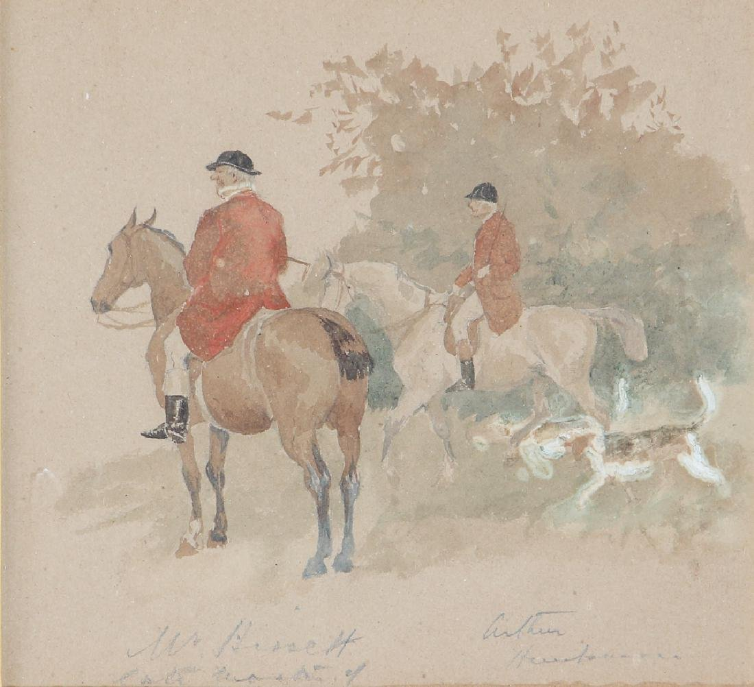 Three Randolph Caldecott Attributed Hunt Scene Sketches