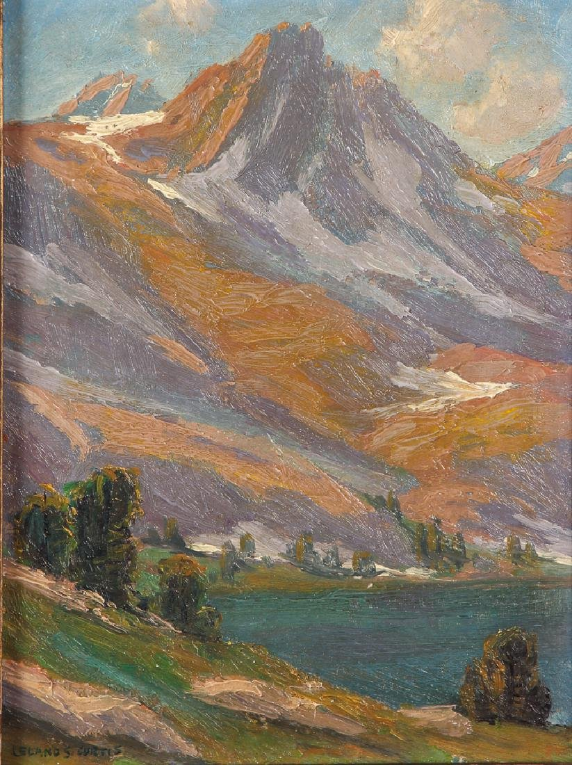 Leland Curtis oil Rocky Mountain Landscape with Lake