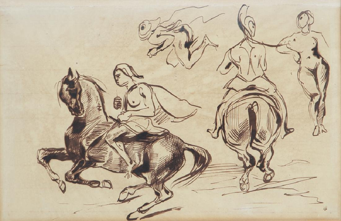 Eugene Delacroix ink drawing Studies of Amazons on