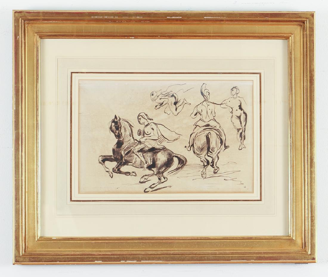 Eugene Delacroix ink drawing Studies of Amazons on - 2