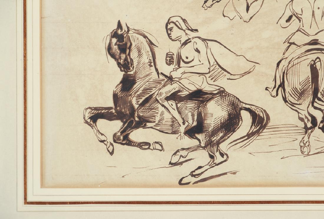 Eugene Delacroix ink drawing Studies of Amazons on - 3