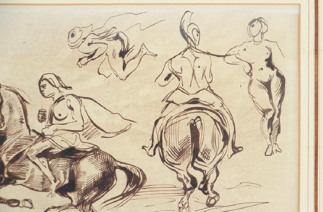 Eugene Delacroix ink drawing Studies of Amazons on - 4