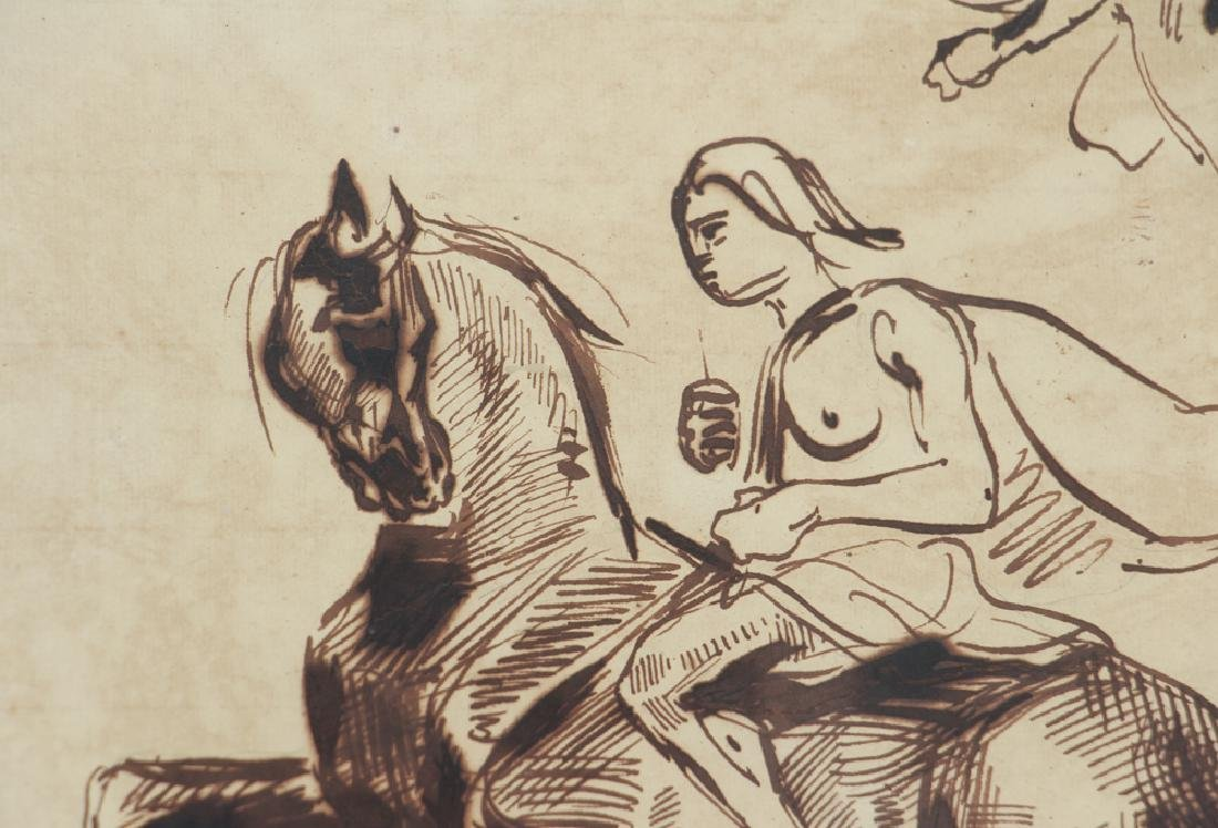 Eugene Delacroix ink drawing Studies of Amazons on - 5