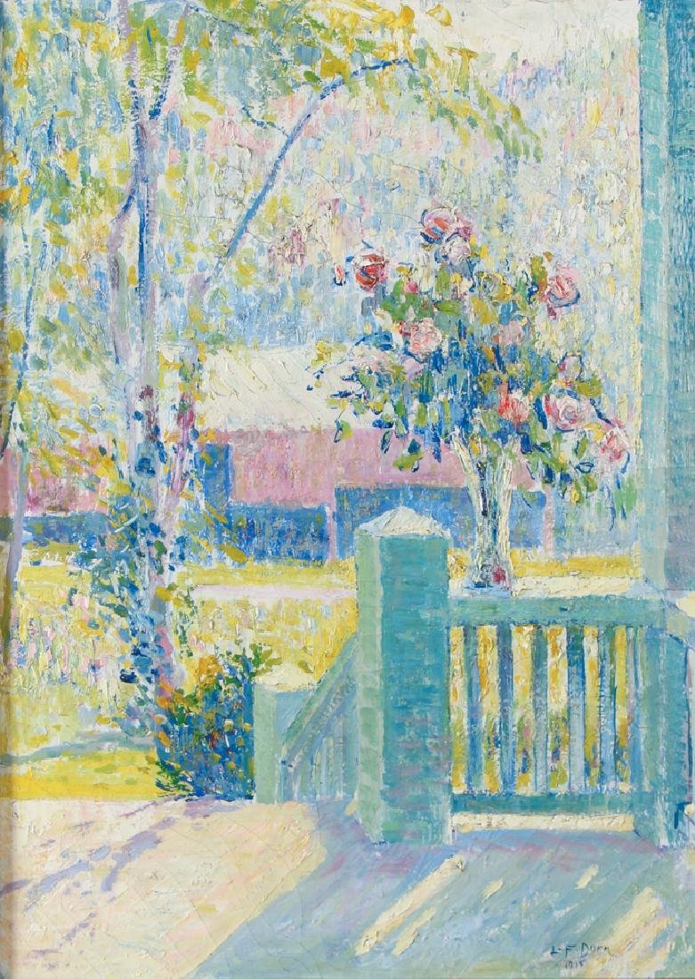 Leo Dorn 1915 ptg. Spring Bouquet on Porch