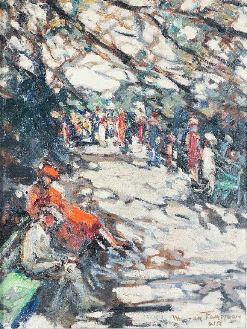Walter Farndon modernist painting STROLLERS IN A PARK