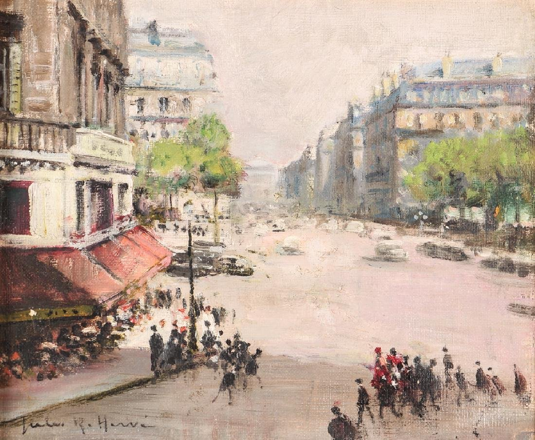 Jules Herve painting Parisian Street Corner Right Bank