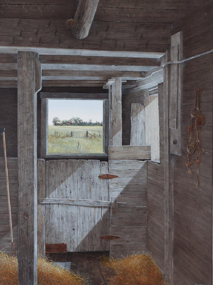 David Bryan Holmes Stable Window, Maine Painting
