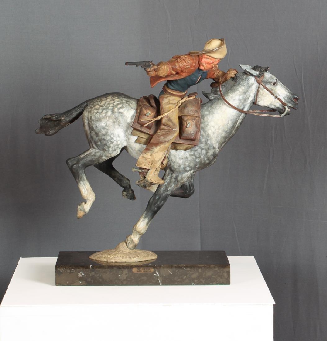 Harry Jackson 1967 painted bronze Pony Express