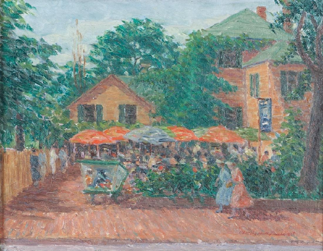 Morris Pancoast oil on canvas board The Window Shop