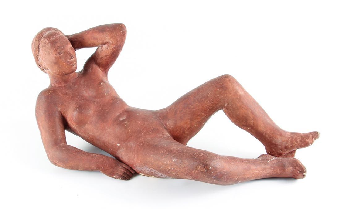 Harry Rosin terracotta sculpture Reclining Nude