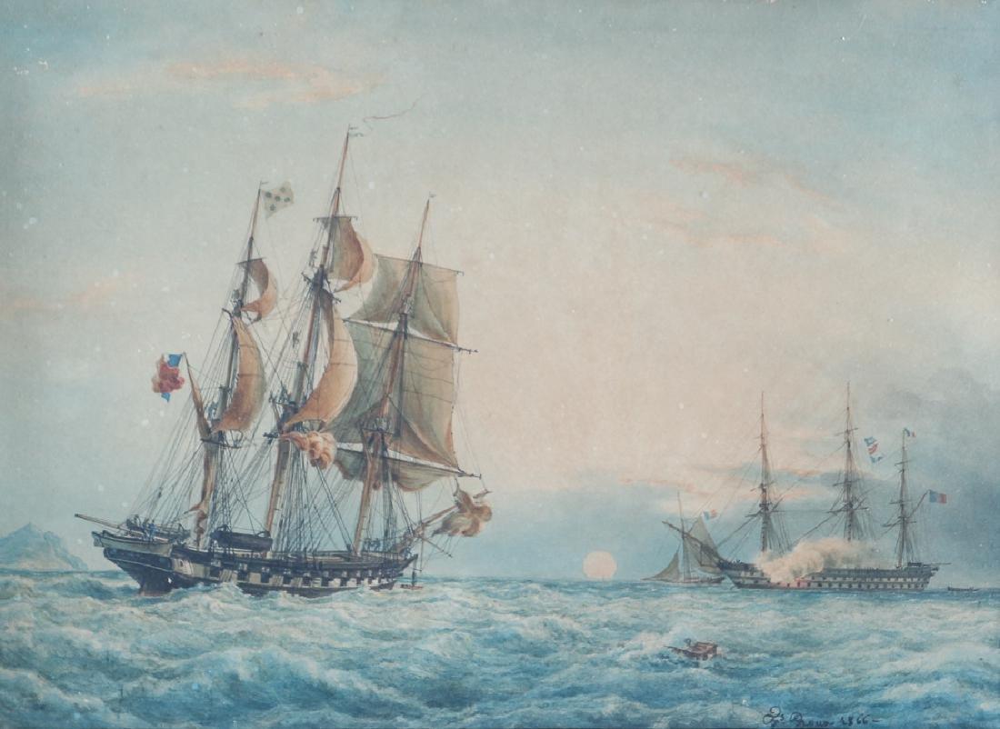 Francois Roux Naval Battle Watercolor