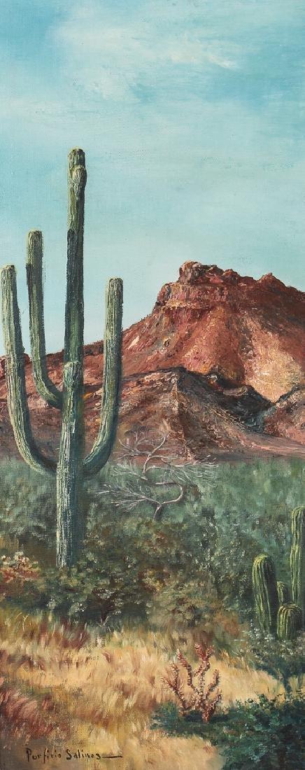 Porfirio Salinas Desert Landscape Oil on Board