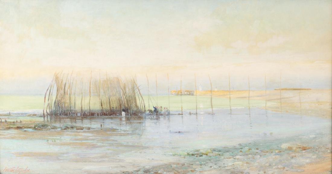 John William Schofield watercolor Coastal Fishing with