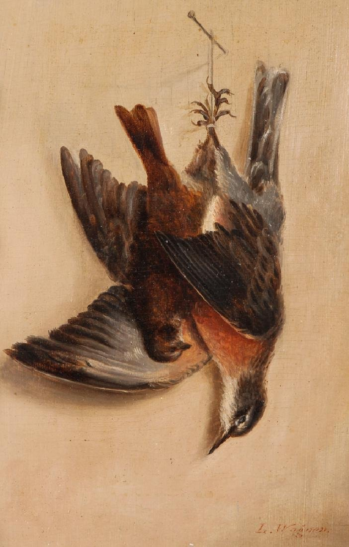 Louise Wagner oil on board Dead Game Still Life