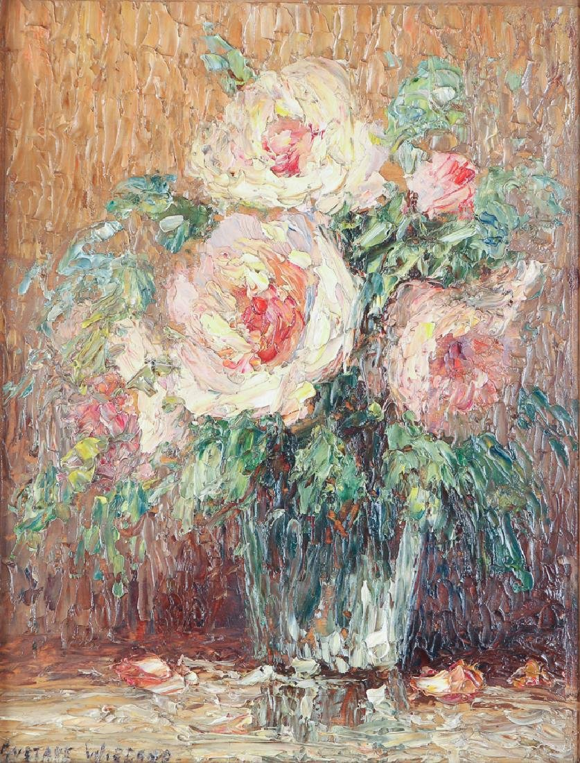 Gustave Wiegand Impressionist oil on board, Roses