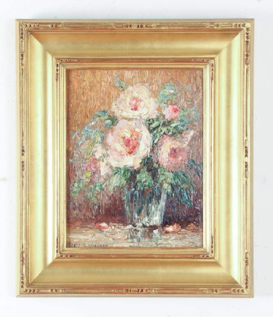 Gustave Wiegand Impressionist oil on board, Roses - 2