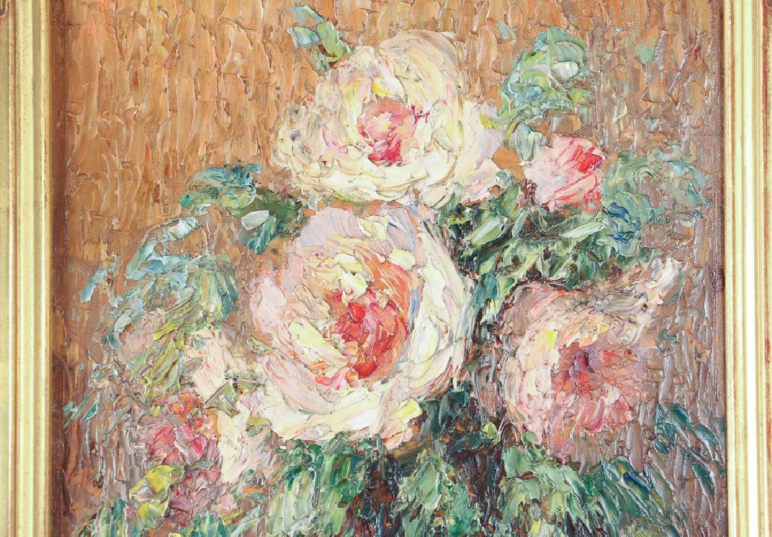 Gustave Wiegand Impressionist oil on board, Roses - 4