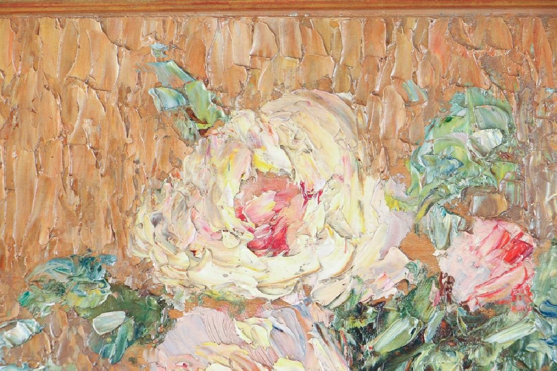 Gustave Wiegand Impressionist oil on board, Roses - 5