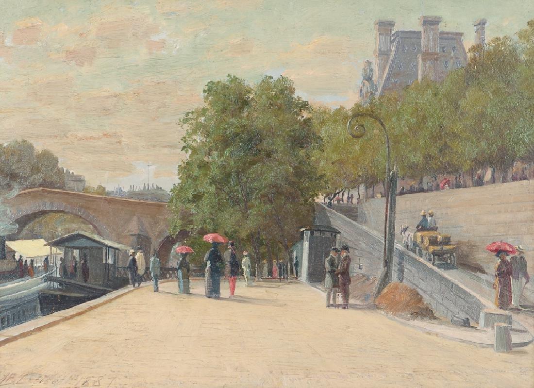 Martin Leisser Paris Canal Scene Painting