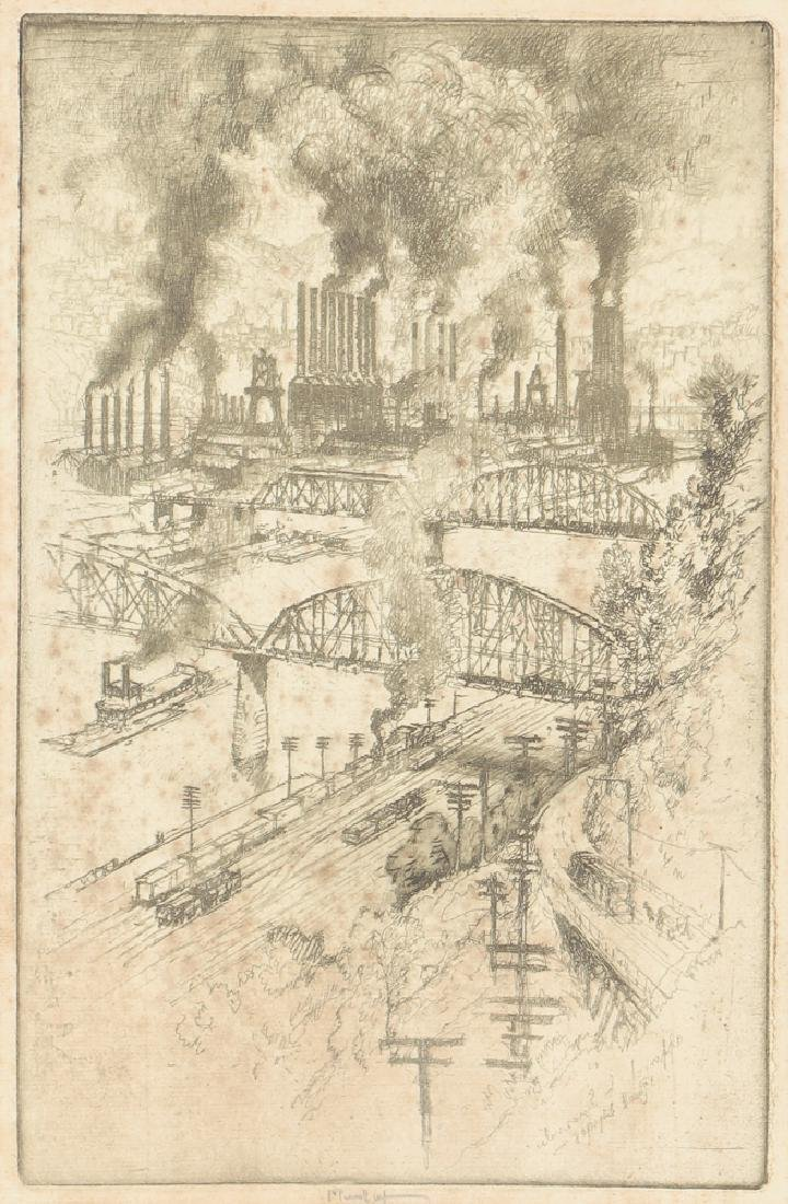 Joseph Pennell Steel Mill River Scene Etching