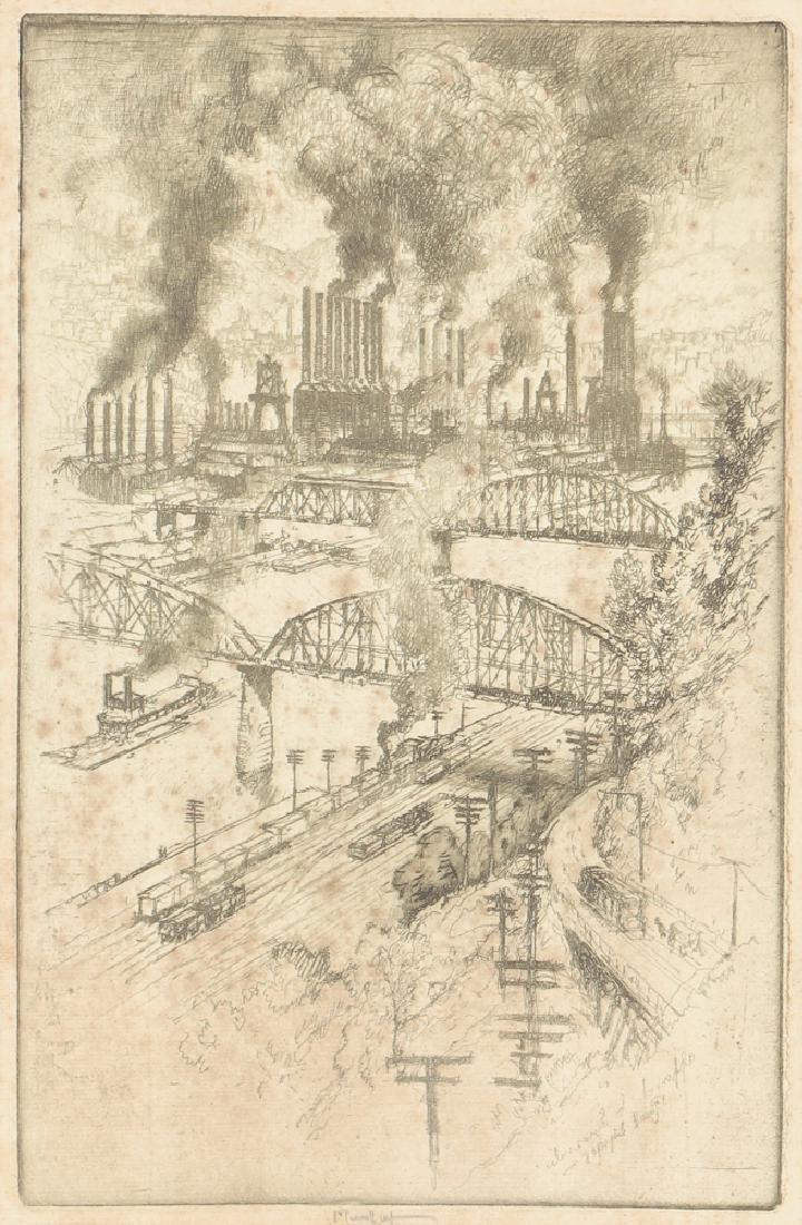 Joseph Pennell Steel Mill River Scene Etching