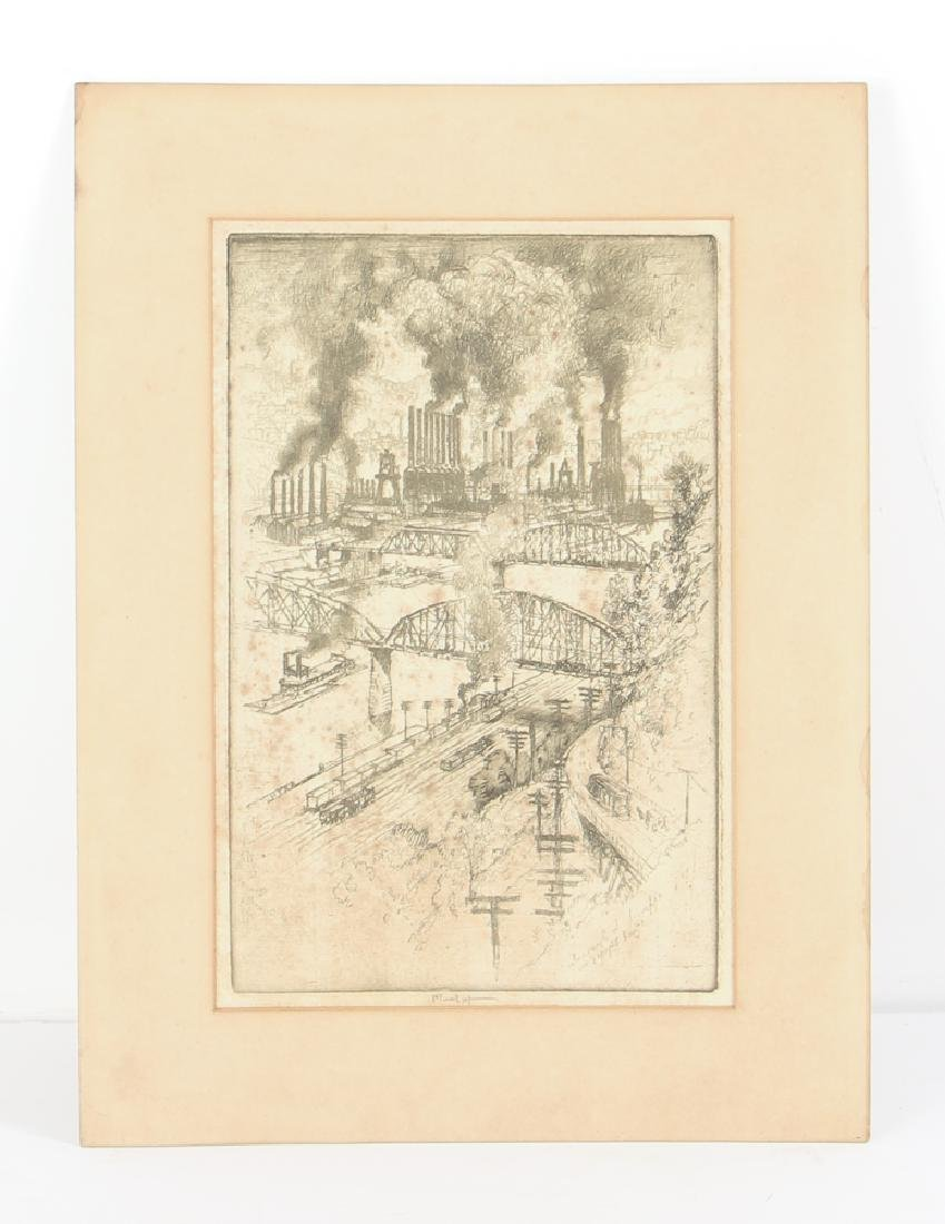 Joseph Pennell Steel Mill River Scene Etching - 2