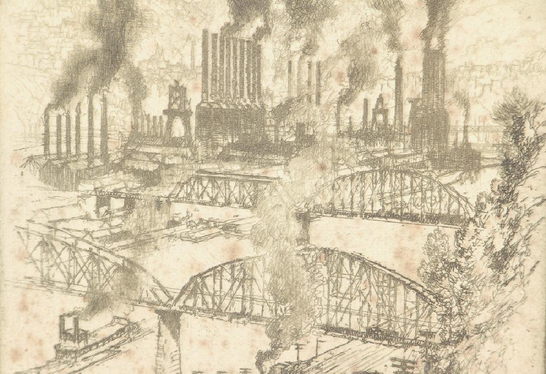 Joseph Pennell Steel Mill River Scene Etching - 4