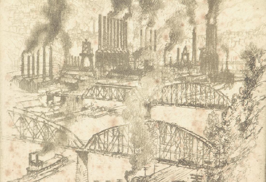 Joseph Pennell Steel Mill River Scene Etching - 4