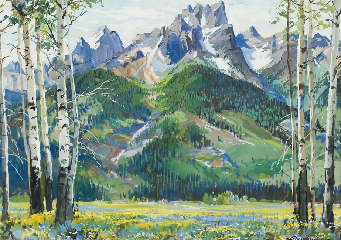 Ottmar Von Fuehrer Tetons Gouache Landscape