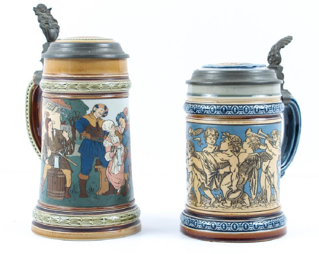 Two Antique  Mettlach Steins